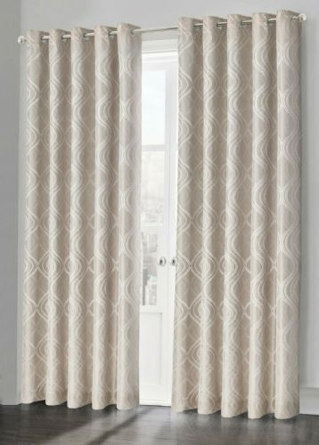 Beige Natural Fully Lined Jacquard Waves Swirl Ready Made Ring Top Curtain Pair Eyelet Curtains